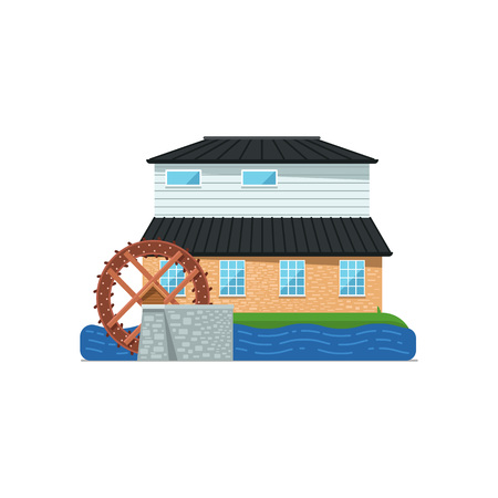 Old water mill building isolated icon