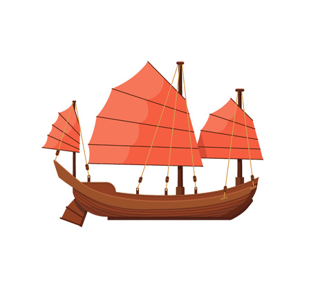 Ancient oriental boat isolated on white icon