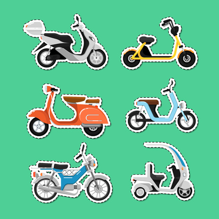 Vintage and modern scooters labels set