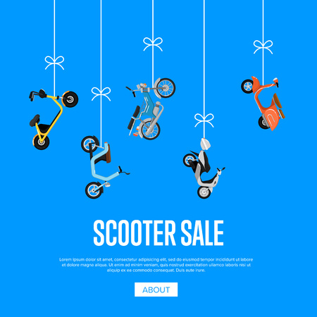 Scooter sale advertising with city motorbikes