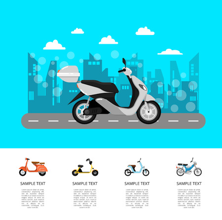 Modern scooter on road poster in flat style