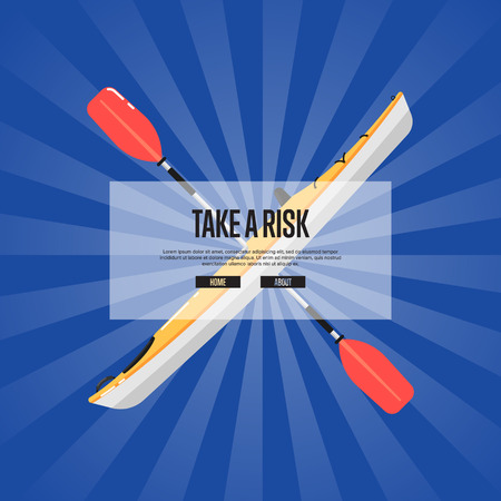 Take a risk sport banner with kayak and paddle