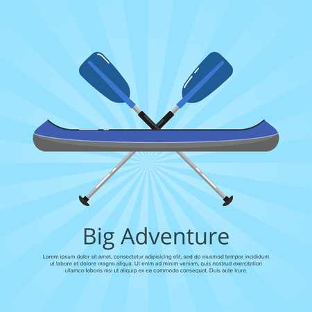 Big adventure banner with kayak and paddles Stok Fotoğraf