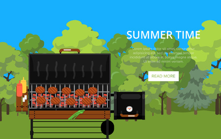 Summer time poster with meats on barbecue grill