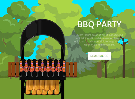 BBQ party poster with meats on barbecue