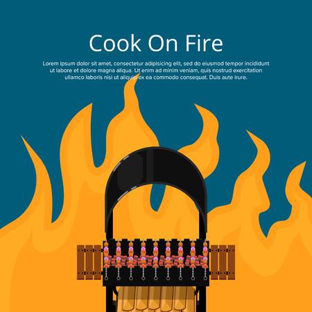 Cook on fire poster with meat skewers on grill