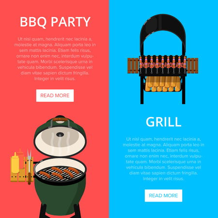 Barbecue party flyers with meats on grill