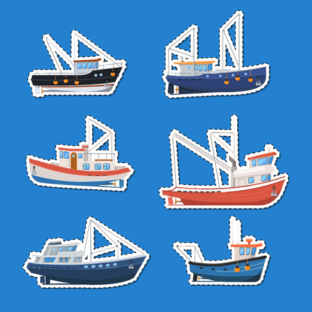 Fishing boats side view isolated labels set