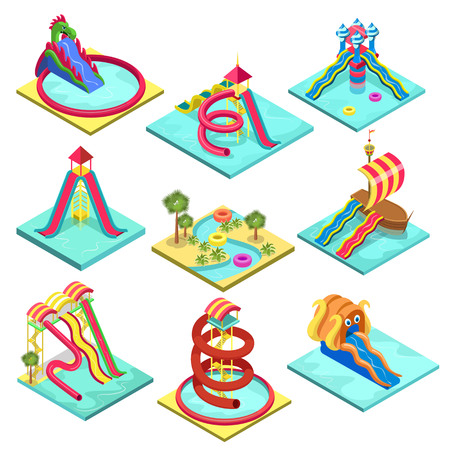 Aqua park water slides isometric 3D elements