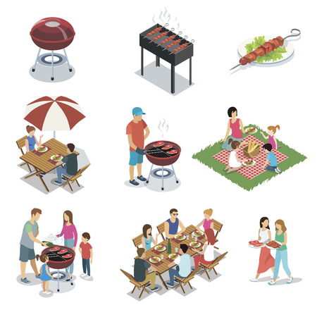 Family grill barbecue party isolated set Banco de Imagens