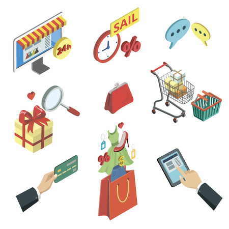 Online shopping isometric 3D icons set