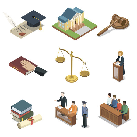 Public justice isometric 3D elements