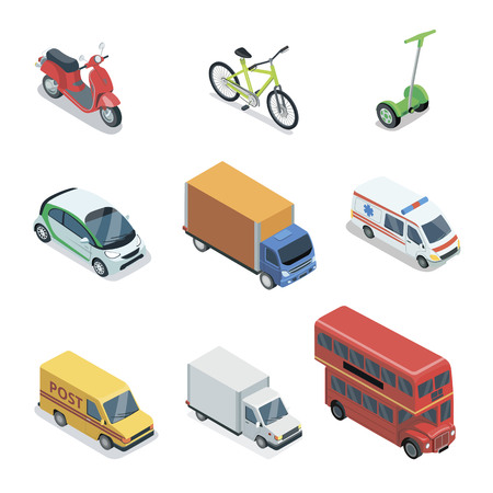 Modern city transport isometric 3D elements