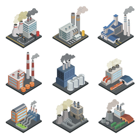 Industrial building factory isometric 3D elements Banco de Imagens