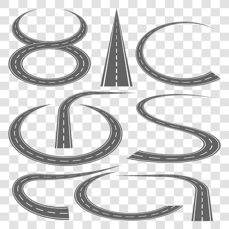 Set of curved highway tracks