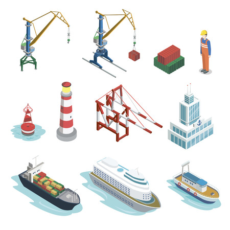 Sea shipping logistics isometric 3D elements Фото со стока