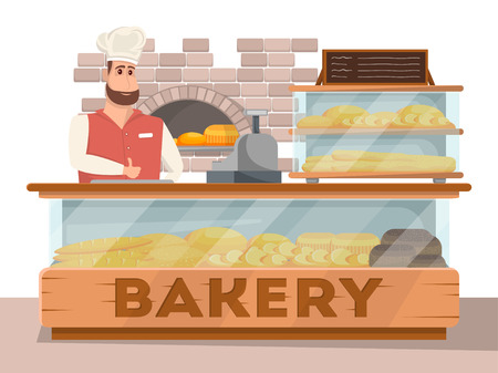 Bakery shop interior banner in cartoon style