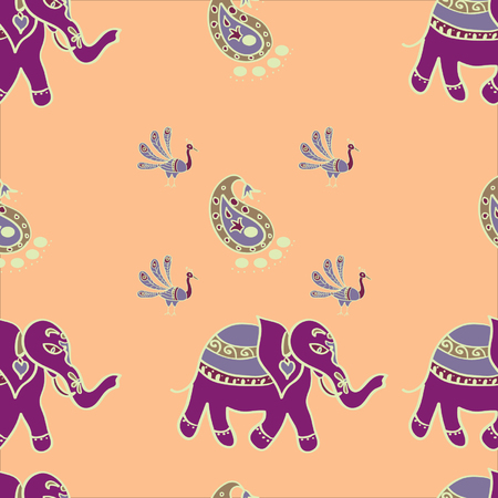 Indian style seamless pattern with elephants,paisley and peacocks  Vector