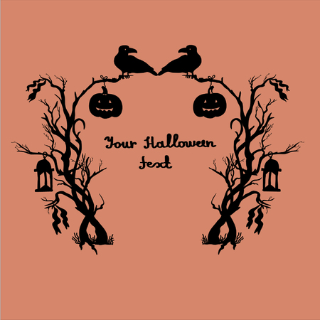 Halloween frame with bushes,lanterns,rib bons,crows and pumpkins