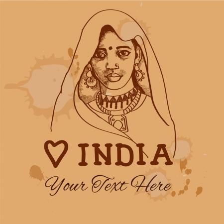 Retro vintage backgound with indian girl for your design  Illustration
