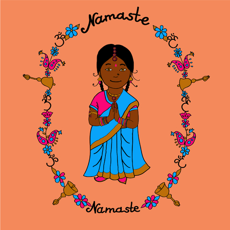 namaste: Cute indian little girl with colorfull frame in cartoon style for your design