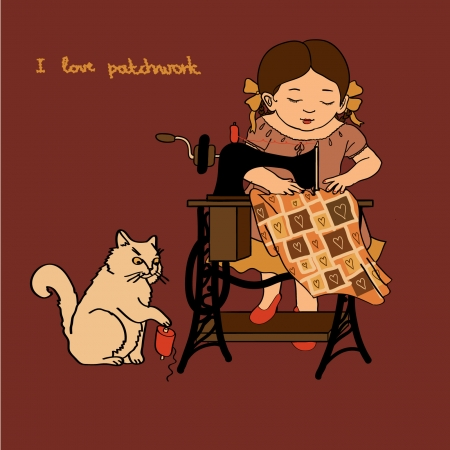 Little cute girl is sewing on the sewing machine, and the cat is playing with the threads