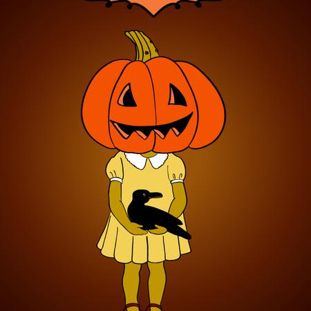 Pumpkin girl with crow  Halloween background Stock Vector - 22631976