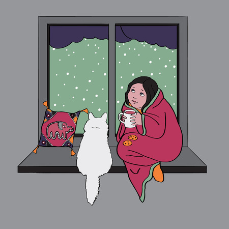 Girl and cat sitting at window