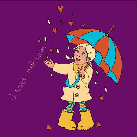 Cute little girl with umbrella background for your design Illustration