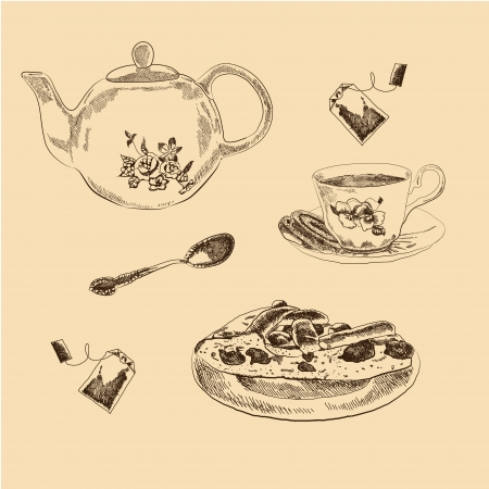 Tea Set sketches collection for your design Illustration