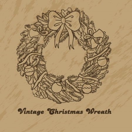 Vintage christmas wreath for your design Illustration
