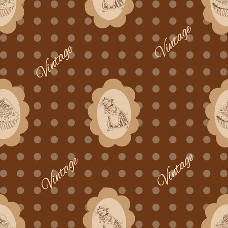 Seamless vintage Pattern with mouse and cake Stock Vector - 23870833