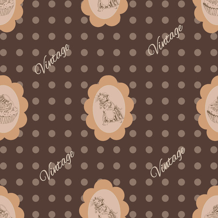 Seamless vintage Pattern with mouse and cake Stock Vector - 23870834