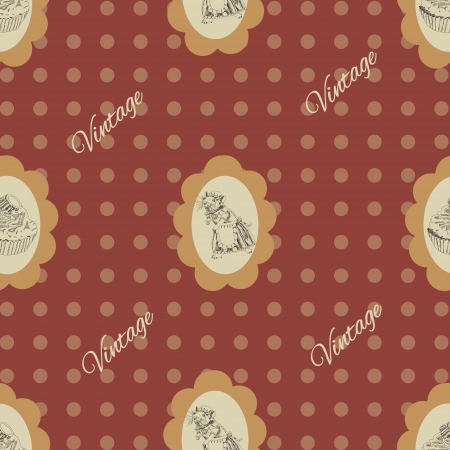 Seamless vintage Pattern with mouse and cake Illustration
