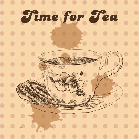 Tea mug and cake vintage style Illustration