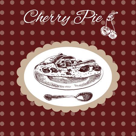 Cherry pie vintage style Stock Vector - 23871000