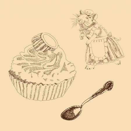Vintage Set of Mouse, Spoon and Cake Stock Vector - 23871003