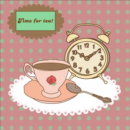 Vintage tea mug, saucer,spoon and alarm clock on tablecloth Illustration