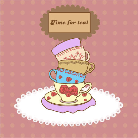 Vintage tea mugs on the tablecloth for your design Stock Vector - 23871005