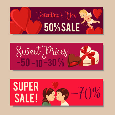 Valentines Day Sale Banners, Sale headers Design Vector illustration Stock Vector - 93772211