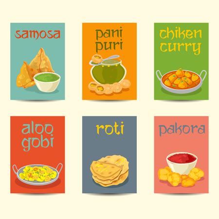 Dania kuchni indyjskiej potrawy kolorowe plakaty. Indyjskie potrawy banery, karty, zestaw plakatów, kolory vintage