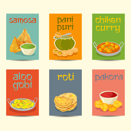 Indian cuisine food dishes colorful posters. Indian dishes banners, cards, posters set ,vintage colors Illustration