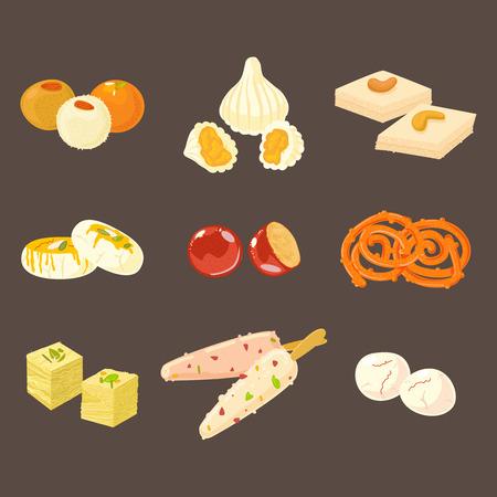 Indiase snoep pictogrammen geïsoleerd op donkere achtergrond. Laddu, modak, burfi, sandesh, gulab jamun, jalebi, soan papdi kulfi en rasgulla Vector Illustratie