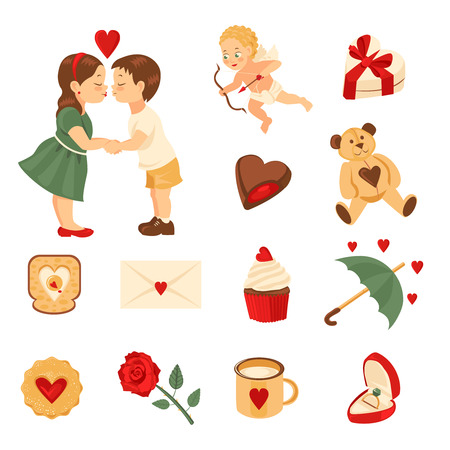 Set of elements for st. Valentine's day. cookie, rose, mug, ring in box. Isolated on white background. Stock Vector - 93842598