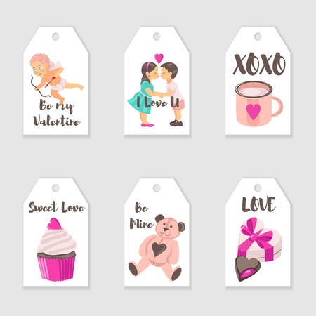 Vector Valentine's Day tags templates. Romantic gift tags, labels collection. Illustration