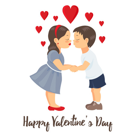 Valentines Day Card. Boy and girl kissing and holding hands.