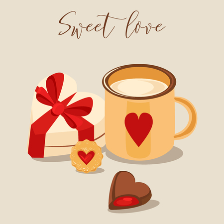 Vector illustration. Mug of cappuccino and heart-shaped chocolates, cookie and heart-shaped sweet box with ribbon. Valentine's Day card. Retro style color poster. Stock Vector - 93776217