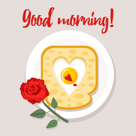 Toast with heart-shaped scrambled egg and rose flower. Valentines day breakfast, heart symbol, good morning wish.
