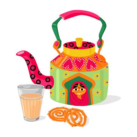 Schöner handgemalter indischer Kessel und Glas Masala Chai Tee. Traditionelles frittiertes Straßenlebensmittel-Bonbonjalebi. Vektor-illustration