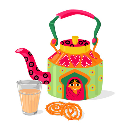 Beautiful hand painted Indian kettle and glass of masala chai tea. Traditional deep frying street food sweets jalebi. Vector illustration